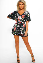 Floral Print Short Playsuit - Full Length View