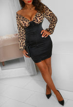 Black Satin and Leopard Mini Dress
