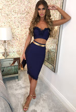 Floral Electric Navy Crochet Trim Bandage Midi Skirt