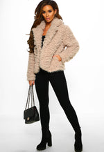 Stone Fluffy Jacket Outfit - Full Length View
