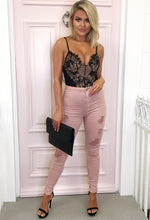 Nevermind Pink Distressed High Waisted Skinny Jeans