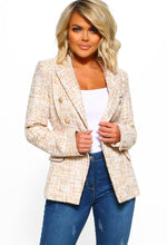 Gold and White Tweed Blazer Jacket - Front View