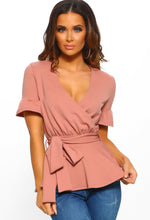 Frilled With Love Blush Pink Tie Detail Peplum Wrap Top