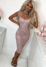 Give Me Lace Dusty Pink Lace Choker Bodycon Midi Dress