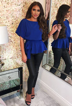 Cobalt Blue Batwing Peplum Top - With Background