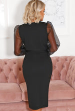 Mesh Sleeve Dress in Black
