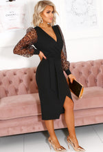 Gabby Animal Print Sheer Long Puff Sleeve Wrap Midi Dress