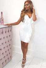 White Frill Detail Mini Dress - Front View