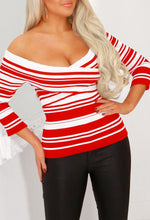 Red Striped Off Shoulder Top