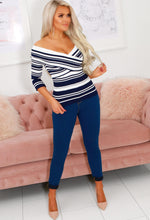 Get A Grip Navy Stripe Ribbed Bardot Top
