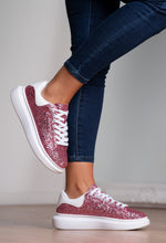 Pink and White Glitter Trainers