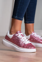 White and Pink Glitter Trainers