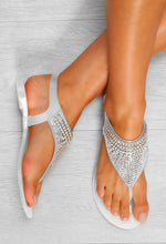 White Glitter Jelly Sandals - Above View