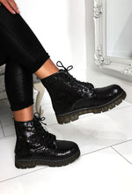 Chunky Lace Up Black Boots