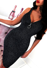 Zip Front Sparkle Bodycon Dress