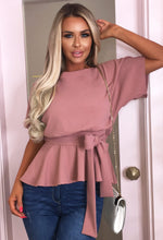 Pink Batwing Peplum Top - With Background