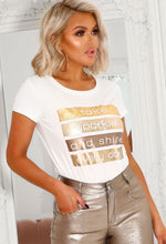 Glow Take Sparkle & Shine Metallic Printed T-Shirt
