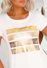 Metallic Slogan T-Shirt - Front View