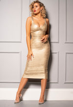 Gold Bandage Midi Dress