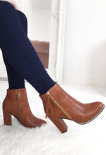 Block Heel Tan Boots
