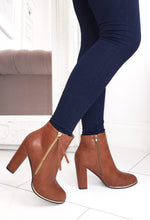Tan Zip Up Ankle Boots