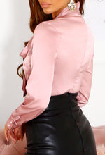 Pink Satin Pussybow Blouse