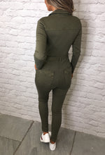 Long Sleeve Khaki Jumpsuit - Back VIew