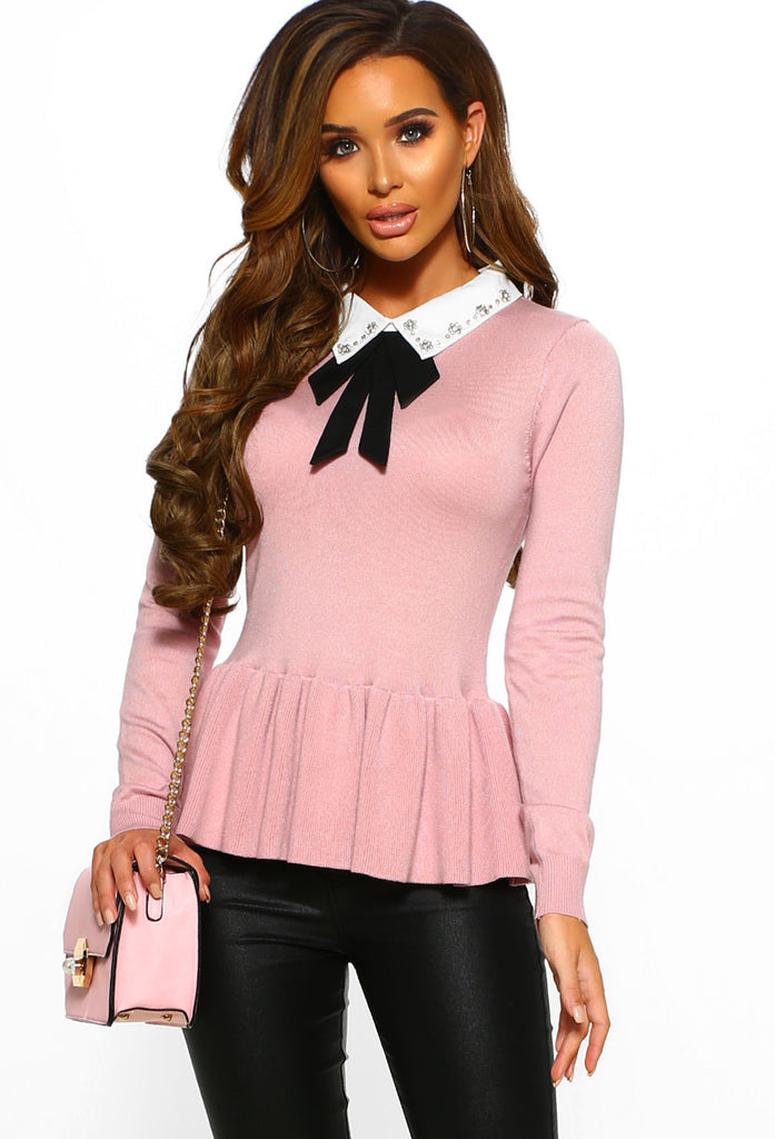 Here We Bow Again Blush Peplum Jumper With Bow Detail by Pink Boutique