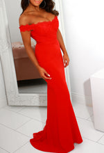 Red Bardot Prom Dress