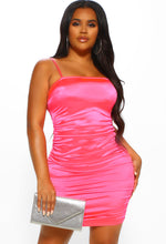 Neon Pink Ruched Dress