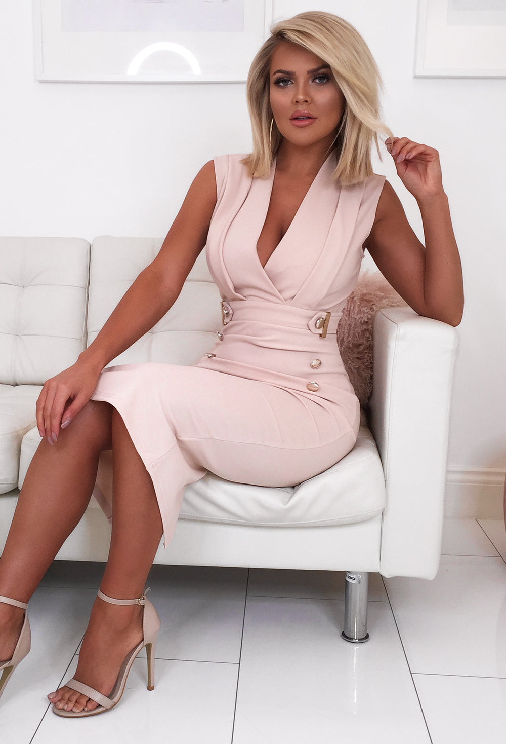 Dancefloor Dream Nude Sleeveless Blazer Midi Dress Pink