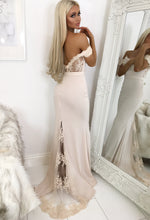 Nude Lace Bardot Maxi Dress - with background