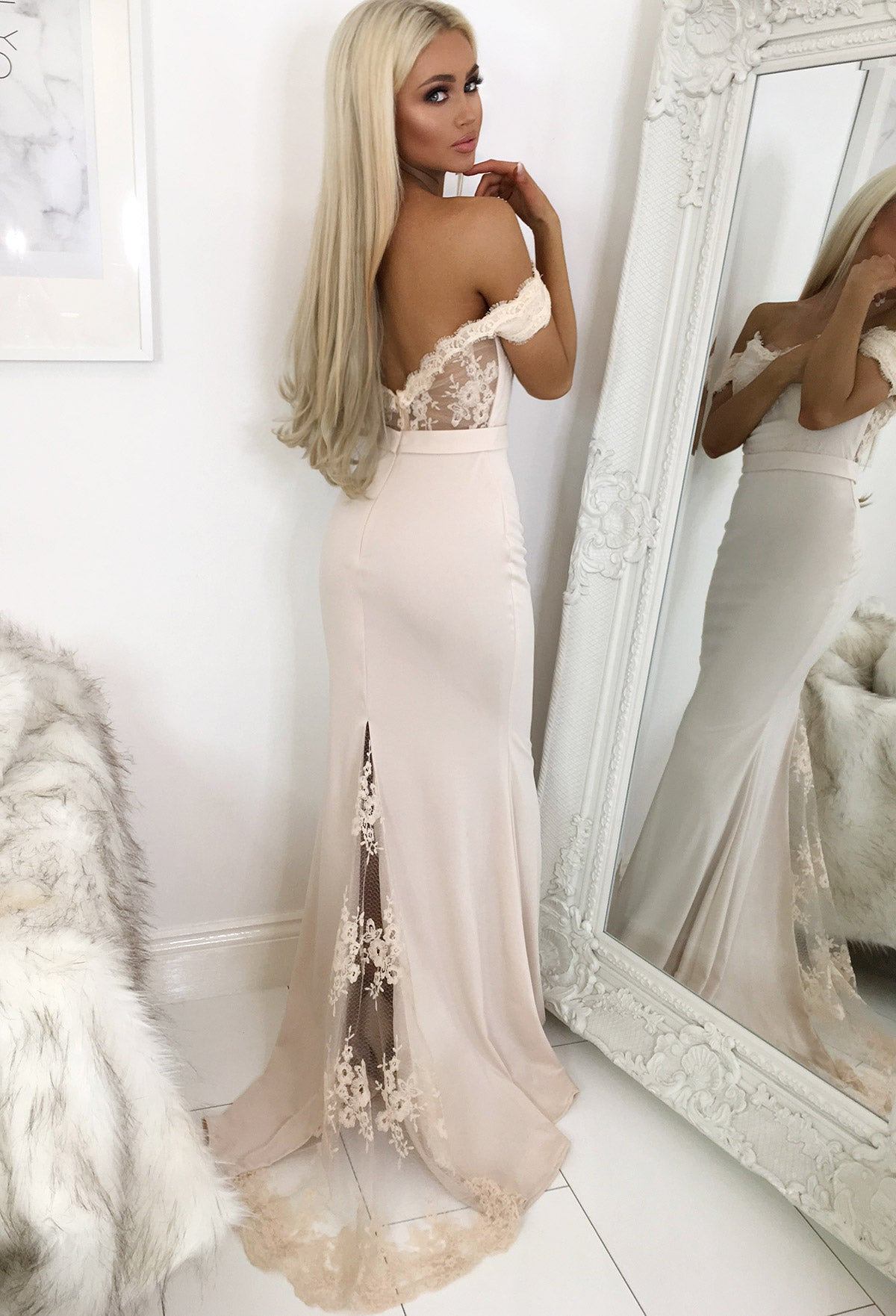 b7da691f6bfc Sweet Elegance Nude Lace Bardot Maxi Dress – Pink Boutique UK