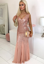 Oscar Night Peach Sequin Maxi Dress