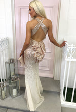 Champagne Frill Back Sequin Maxi Dress - Back