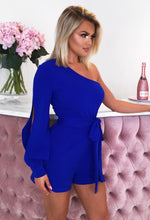 Love Control Cobalt Blue One Shoulder Cut Out Playsuit