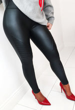 Star Behaviour Black Stretch Panelled High Waisted PU Legging