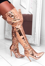 Rose Gold Over The Knee Boots