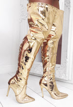Gold Stiletto Over The Knee Boots