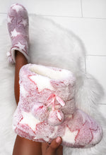 Pink Star Print Fluffy Slippers