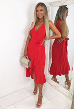 Mayfair Lane Red Frill Wrap Maxi Dress