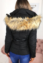 Feeling Chilly Black Padded Coat With Faux Fur Hood
