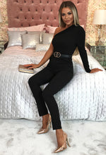 Black One Shoulder Tailored Jumpsuit - Front with Background