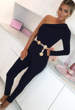 In Control Navy One Shoulder Tailored Jumpsuit