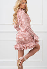 In Your Dreams Pink Ruffle Detail High Neck Mini Dress