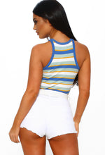 Blue Striped Ribbed Jersey Vest Top
