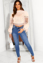 Pink Lace Blouse with High Neck