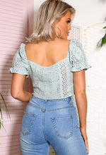 Jayde Mint Green Puff Sleeve Crop Top
