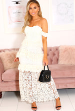 Cream Crochet Bardot Maxi Dress