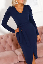 Navy Long Sleeve Midi Dress